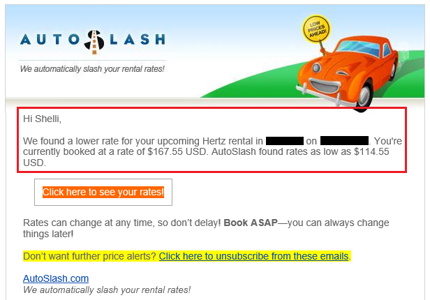 Auto Slash lower rate email