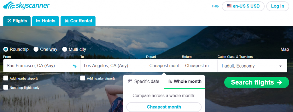 skyscanner search options