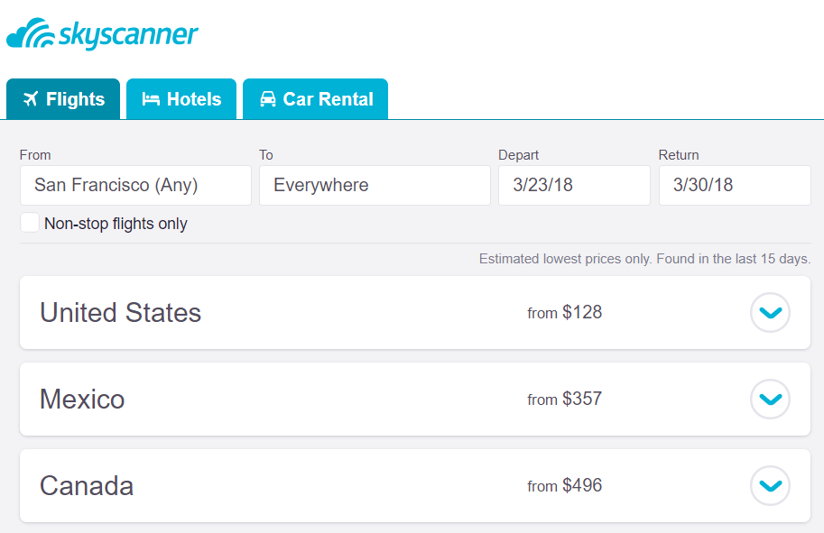skyscanner suggestion page