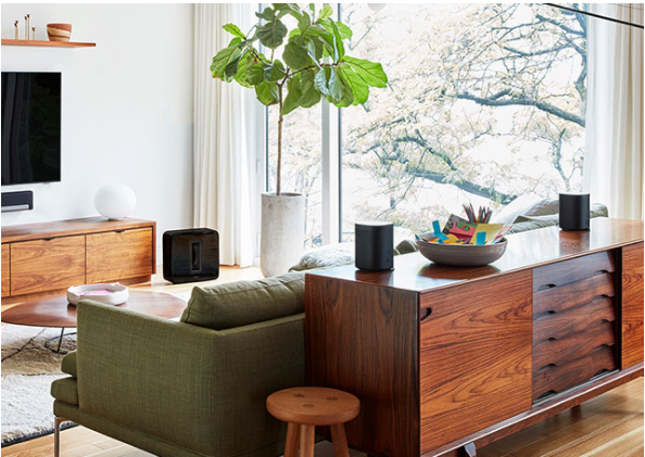 Sonos wireless speakers in living room