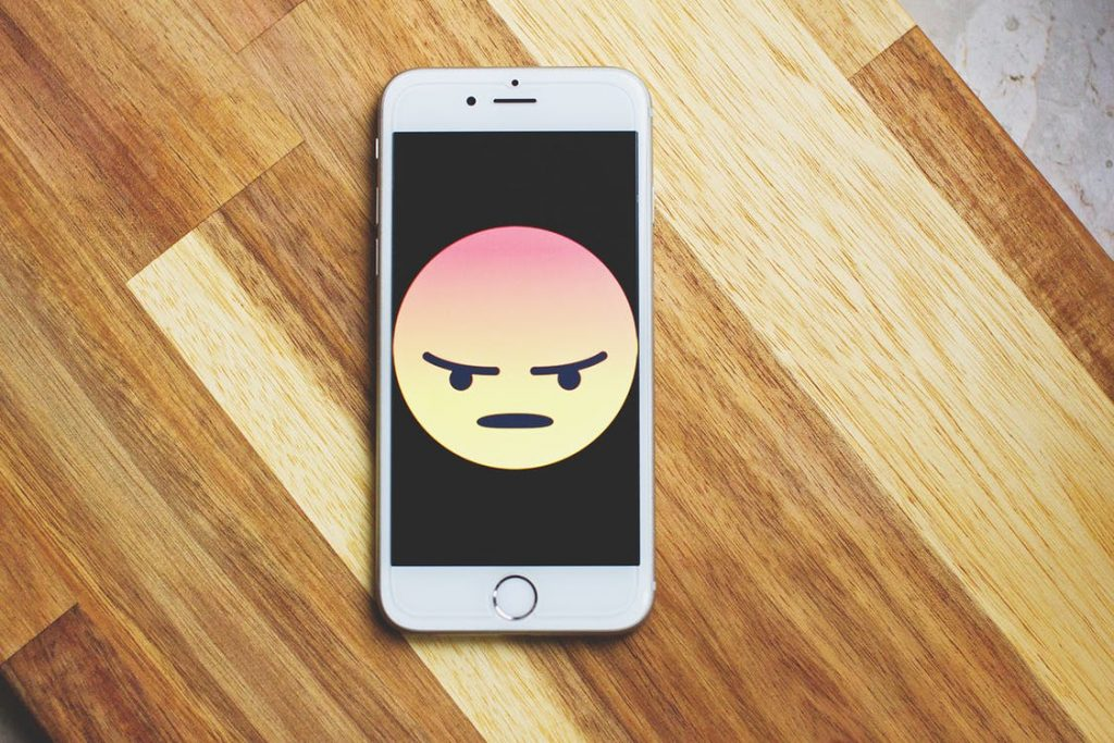 Phone with an angry face