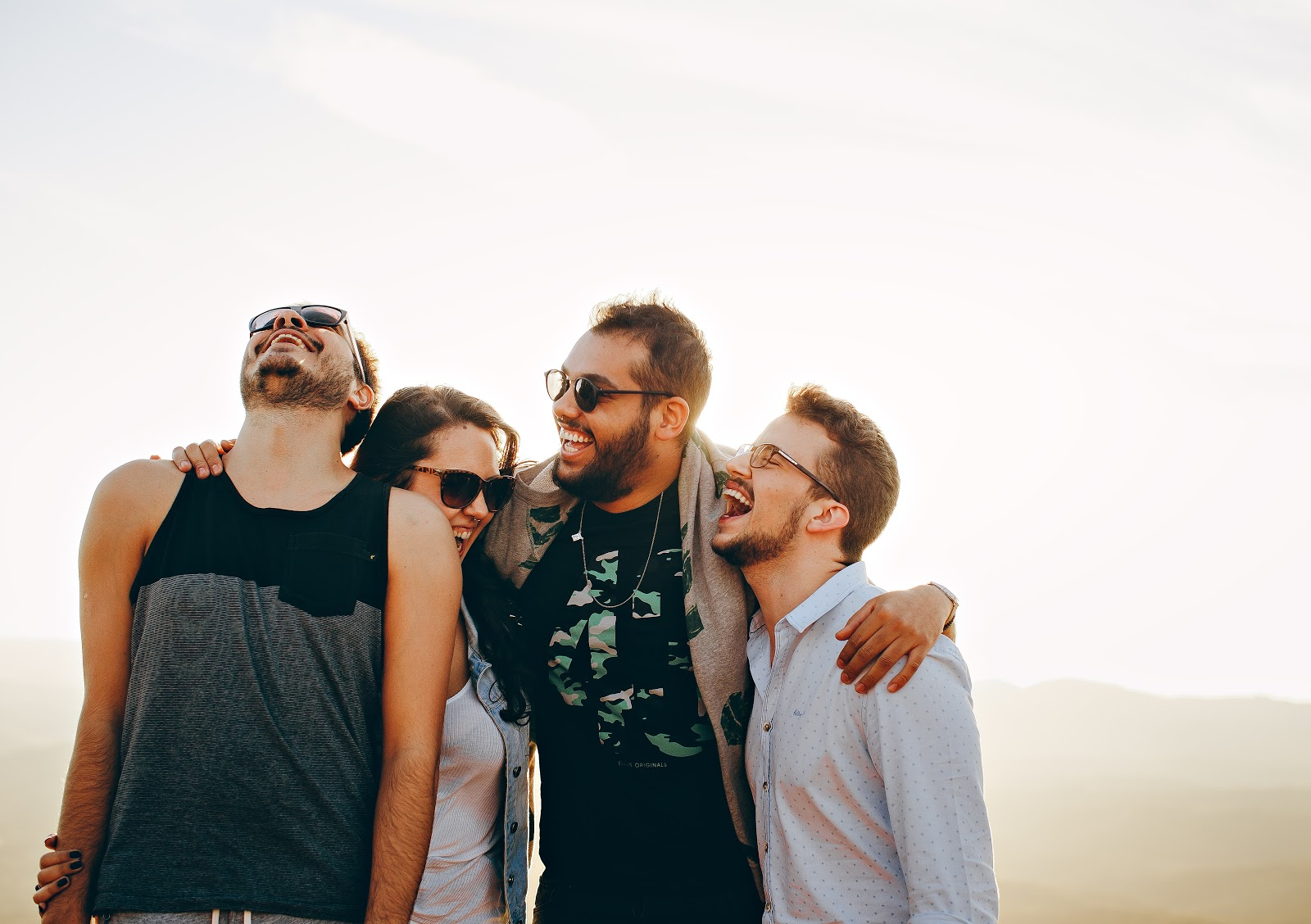 A group of people with sunglasses on