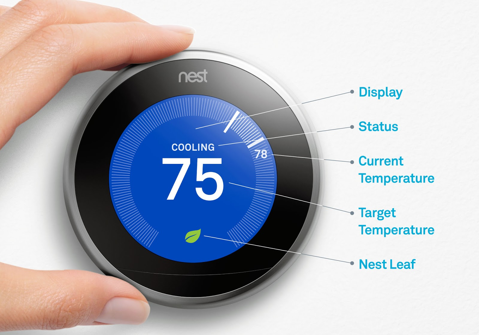Nest thermostat temp control screen