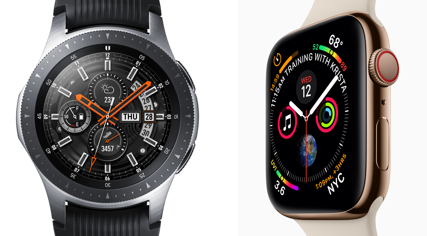 Apple watch and a Galaxy watch