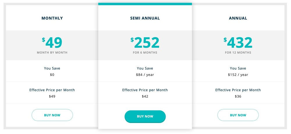LifePod Pricing Table