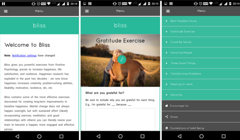 Bliss android app screens