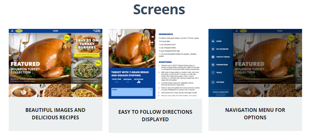 Butterball's Cookbook Plus app screens
