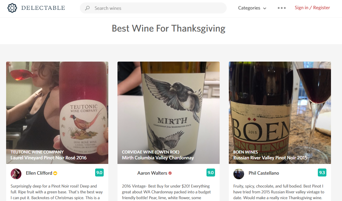 Delectable wine app's best wines for thanksgiving