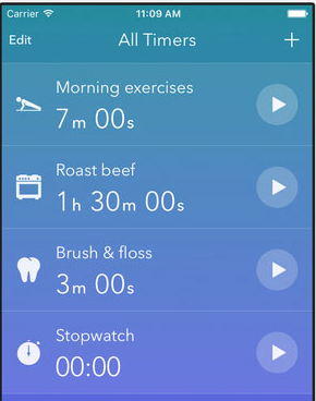 Timeglass app screen showing multiple timers